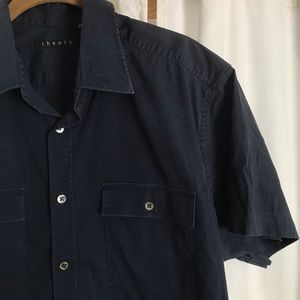 Theory Large Women's Navy Button Down Shirt